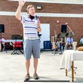 The Rev. David Graybeal leads outdoor worship at Keith Memorial United Methodist Church in Athens, Tennessee, earlier this month. Since then, in-person worship services for all United Methodist churches in McMinn County have been suspended through July.